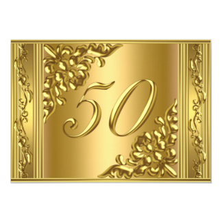 Elegant 50th Birthday Party Gold Golden 50 Frame Card