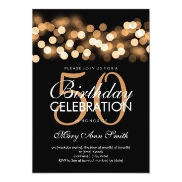 Rewards4life Elegant 50th Birthday Party Gold Hollywood Glam Card