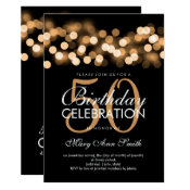 Elegant 50th Birthday Party Gold Hollywood Glam Invitation