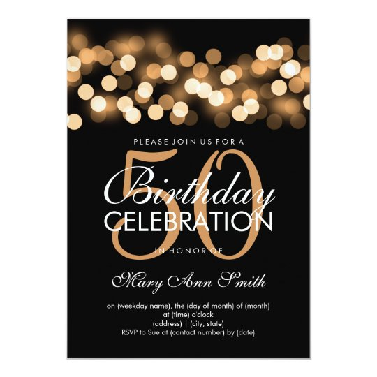 elegant 50th birthday party gold hollywood glam invitation zazzle com