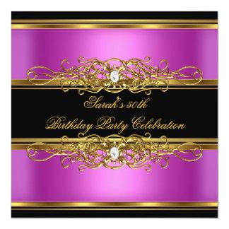 Elegant 50th Birthday Party Gold Pink Black Card