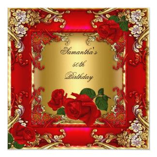 Elegant 50th Birthday Party Gold Red Rose Invitation