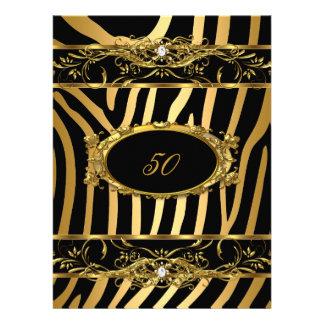 Elegant 50th Birthday Party Gold Zebra Black Announcement