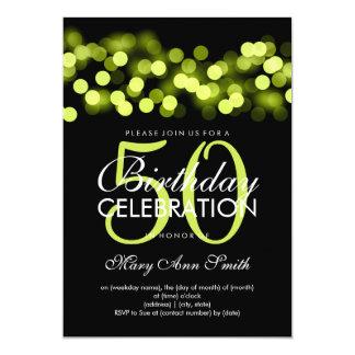 Elegant 50th Birthday Party Green Hollywood Glam Card