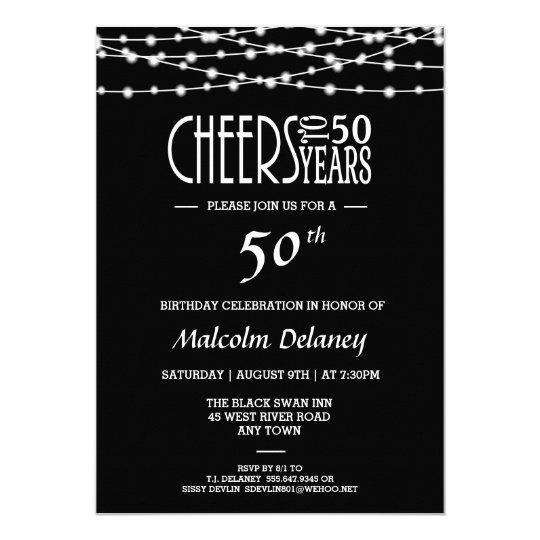 Elegant 50th Birthday Party Invitation In Black