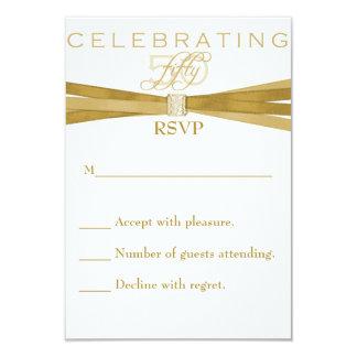 "Elegant 50th Birthday Party Invitations RSVP Card 3.5"" X 5"" Invitation Card"