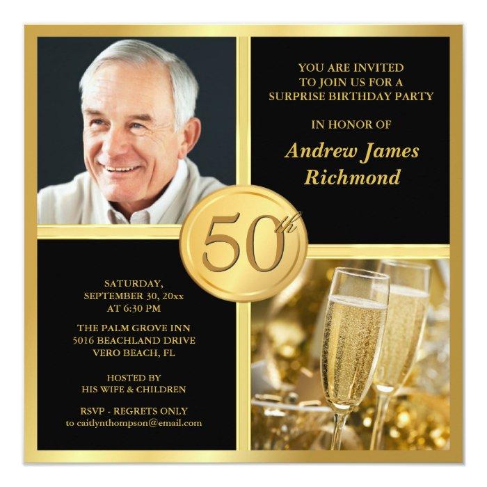 Elegant 50th Birthday Party Invitations With Photo