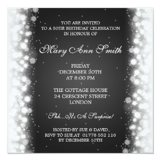 Elegant 50th Birthday Party Magic Sparkle Black Card