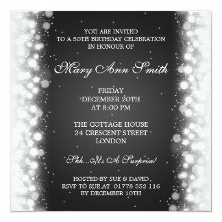 Elegant 50th Birthday Party Magic Sparkle Black Card