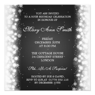 Elegant 50th Birthday Party Magic Sparkle Black Announcements