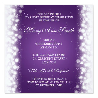 Elegant 50th Birthday Party Magic Sparkle Purple Card