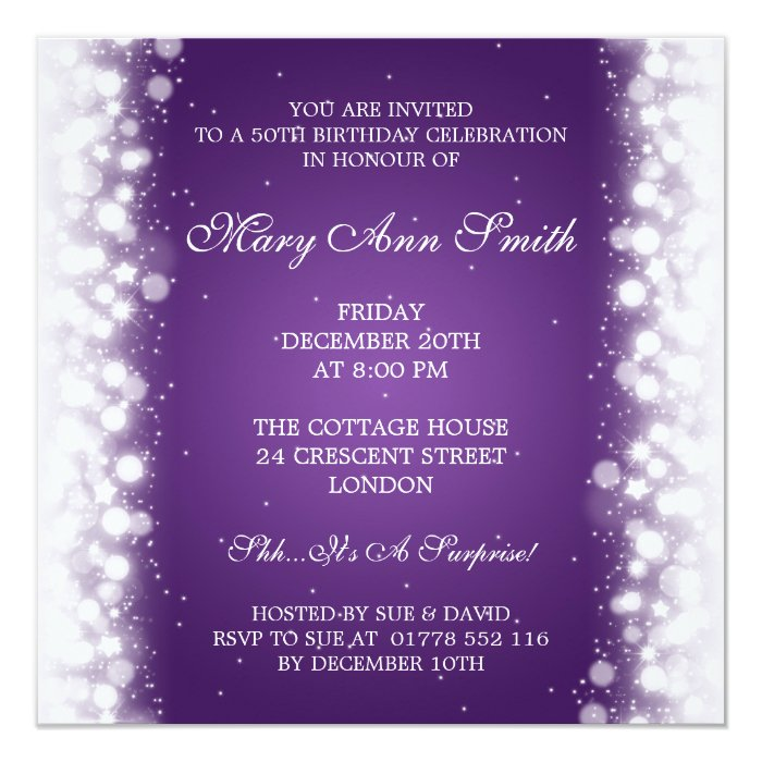 20th Birthday London: Elegant 50th Birthday Party Magic Sparkle Purple Card