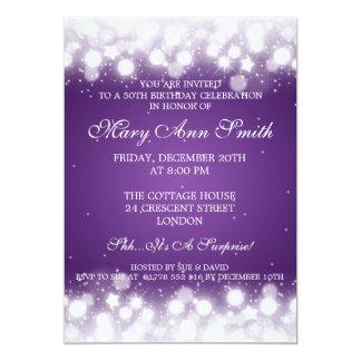 Elegant 50th Birthday Party Magic Sparkle Purple 5x7 Paper Invitation Card