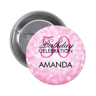 Elegant 50th Birthday Party Pink Glitter Lights Button