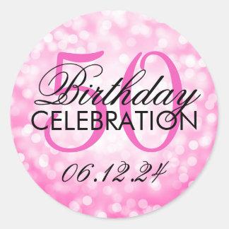 Elegant 50th Birthday Party Pink Glitter Lights Classic Round Sticker