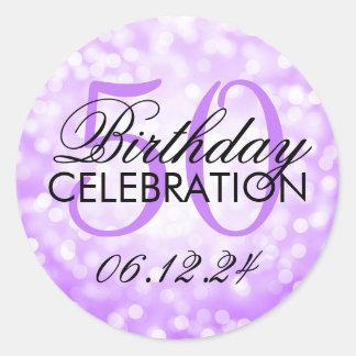 Elegant 50th Birthday Party Purple Glitter Lights Classic Round Sticker