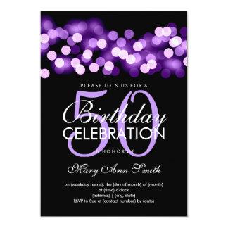 Elegant 50th Birthday Party Purple Hollywood Glam Card