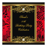 Elegant 50th Birthday Party Red Black Gold Damask Announcement