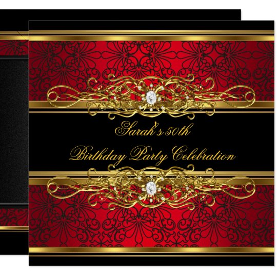 elegant 50th birthday party red black gold damask invitation