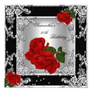 Elegant 50th Birthday Party Red Rose Silver Invitation