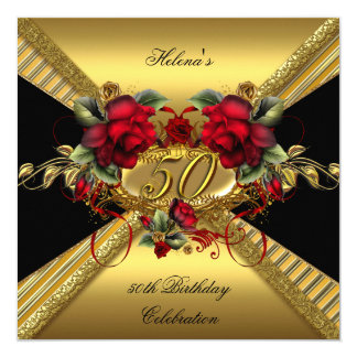 Elegant 50th Birthday Party Red Roses Gold Black Card