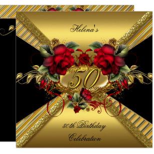 red and black 50th birthday invitations zazzle