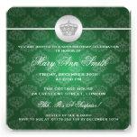 Elegant 50th Birthday Party Royal Crown Green Custom Announcements