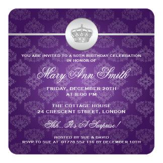 Elegant 50th Birthday Party Royal Crown Purple Card