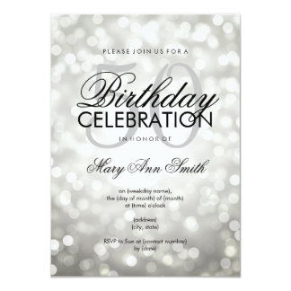 Elegant 50th Birthday Party Silver Glitter Lights Card