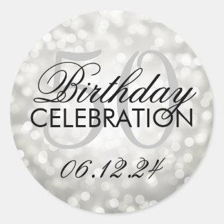 Elegant 50th Birthday Party Silver Glitter Lights Classic Round Sticker