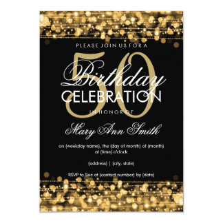 Elegant 50th Birthday Party Sparkles Gold 5x7 Paper Invitation Card