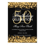 Elegant 50th Birthday Party Sparkles Gold Card at Zazzle