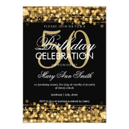50th birthday invitations zazzle elegant 50th birthday party sparkles gold card filmwisefo Image collections