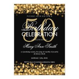 50th birthday invitations zazzle elegant 50th birthday party sparkles gold card filmwisefo Gallery