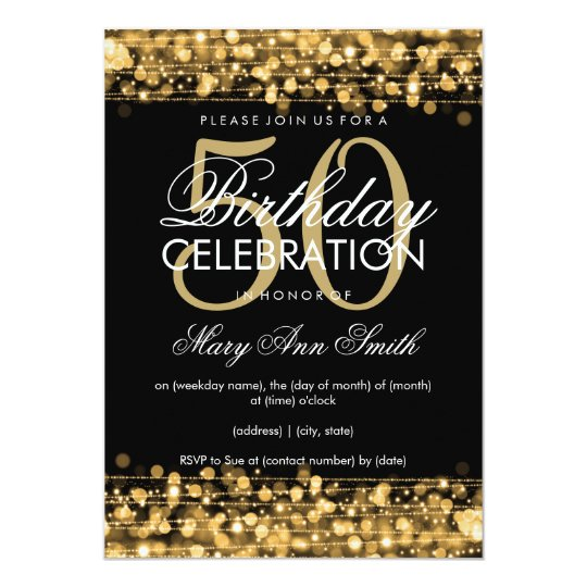 elegant 50th birthday party sparkles gold card | zazzle, Birthday invitations
