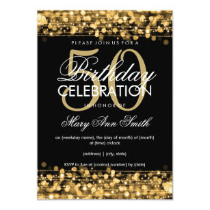 50th birthday invitations zazzle elegant 50th birthday party sparkles gold invitation filmwisefo