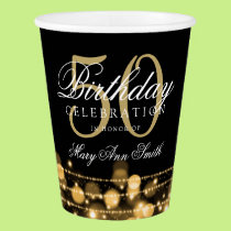 Elegant 50th Birthday Party Sparkles Gold Paper Cup