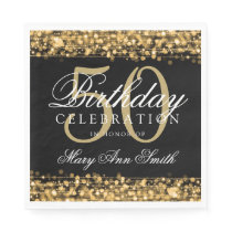 Elegant 50th Birthday Party Sparkles Gold Paper Napkin