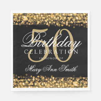 Elegant 50th Birthday Party Sparkles Gold Paper Napkin