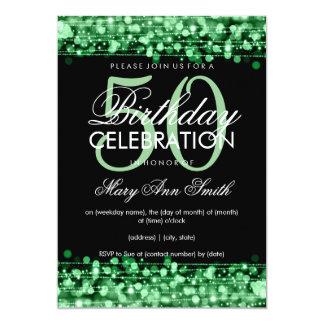 Elegant 50th Birthday Party Sparkles Green Card