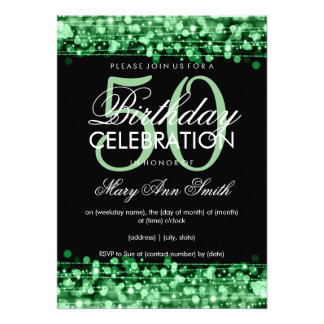 Elegant 50th Birthday Party Sparkles Green Announcements
