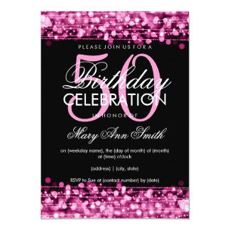 Elegant 50th Birthday Party Sparkles Pink Card