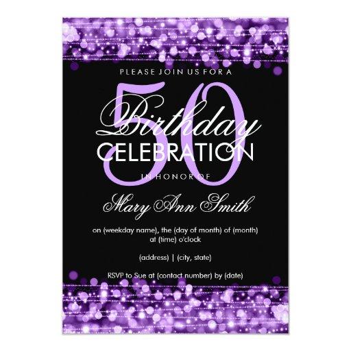 Elegant 50th Birthday Party Sparkles Purple Card