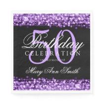 Elegant 50th Birthday Party Sparkles Purple Paper Napkin