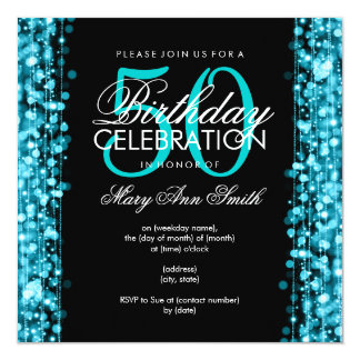Elegant 50th Birthday Party Sparkles Turquoise Card