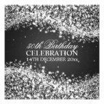 Elegant 50th Birthday Party Sparkling Wave Black Custom Invite