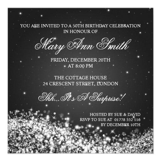 Elegant 50th Birthday Party Sparkling Wave Black Custom Invite (back side)