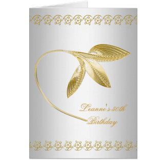 Elegant 50th Birthday Party White Gold Floral Card