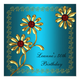 Elegant 50th Birthday Party White Gold Teal Floral Card