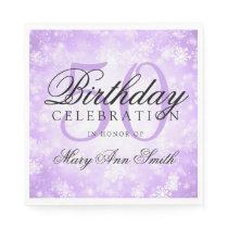 Elegant 50th Birthday Purple Winter Wonderland Napkin